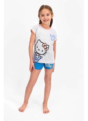 Hello Kitty Hello Kitty Lisanslı Bejmelanj Kız Çocuk Şort Takım Gri